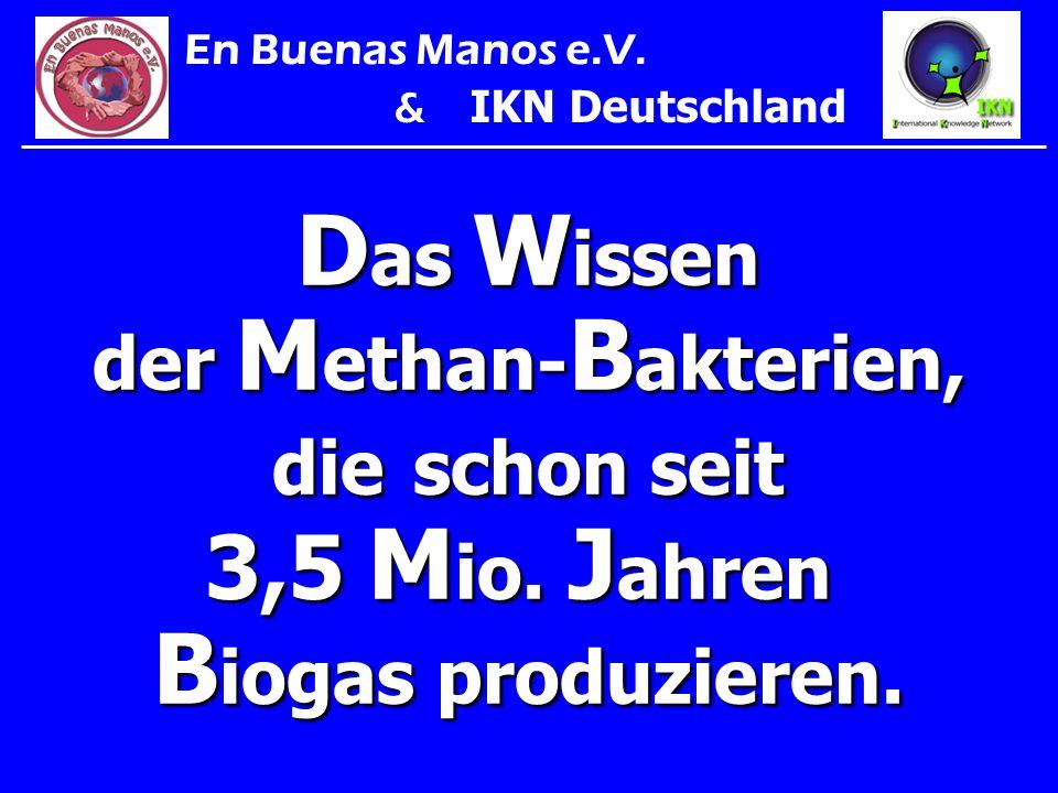 D as W issen der M ethan- B akterien, die schon seit 3,5 M io. J ahren B iogas produzieren. En Buenas Manos e.V. & IKN Deutschland