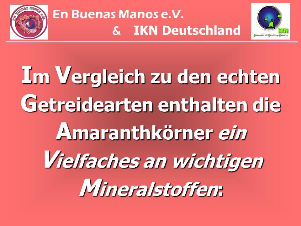 I m V ergleich zu den echten G etreidearten enthalten die A maranthkörner ein V ielfaches an wichtigen M ineralstoffen: En Buenas Manos e.V. & IKN Deu