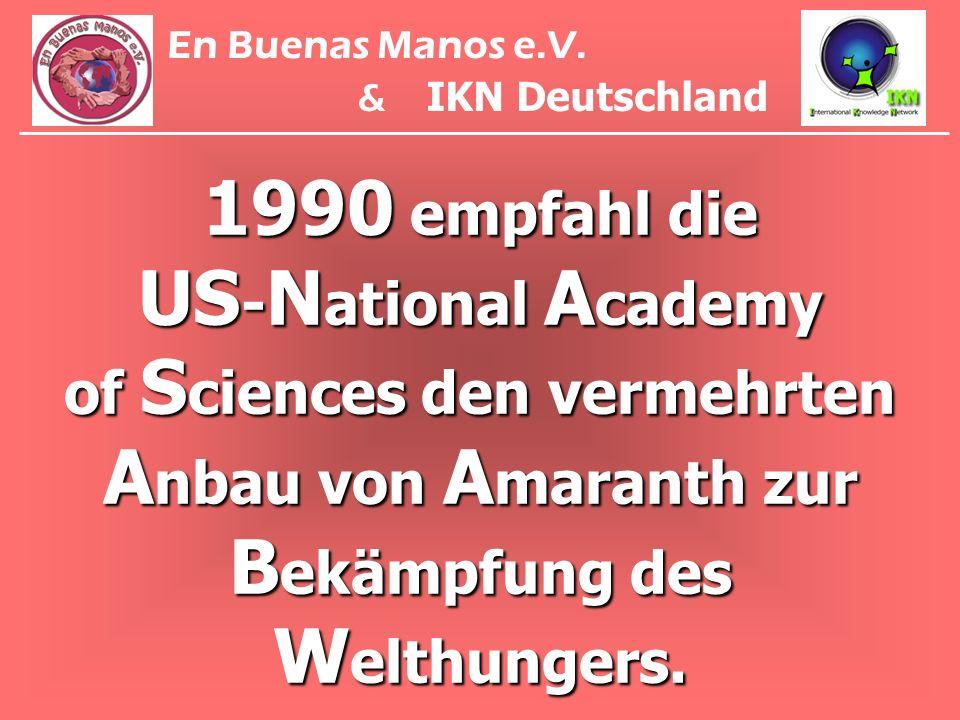 1990 empfahl die US - N ational A cademy of S ciences den vermehrten A nbau von A maranth zur B ekämpfung des W elthungers. En Buenas Manos e.V. & IKN