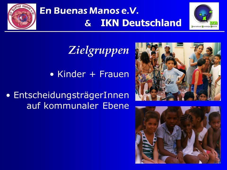 Zielgruppen Kinder + Frauen EntscheidungsträgerInnen auf kommunaler Ebene En Buenas Manos e.V. & IKN Deutschland