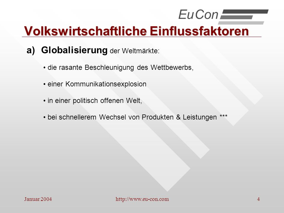 Januar 2004http://www.eu-con.com15 Abnehmende Fertigungstiefe Konzentration auf Kernkompetenzen Fertigungsanteil und Komplexität beim Lieferant.