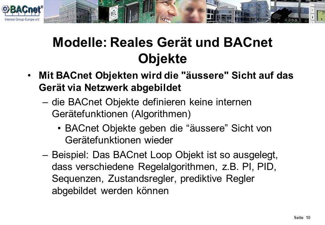 Seite 10 Modelle: Reales Gerät und BACnet Objekte Mit BACnet Objekten wird die