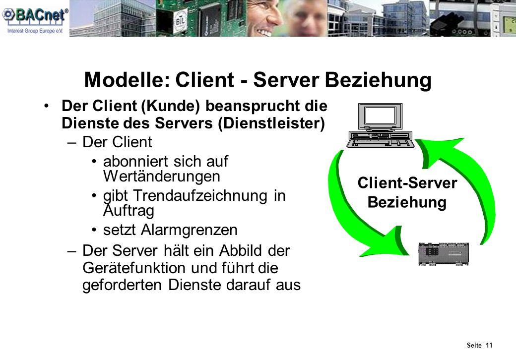 Seite 11 Modelle: Client - Server Beziehung Der Client (Kunde) beansprucht die Dienste des Servers (Dienstleister) –Der Client abonniert sich auf Wert