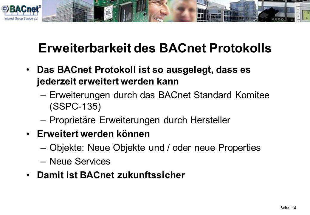Seite 14 Erweiterbarkeit des BACnet Protokolls Das BACnet Protokoll ist so ausgelegt, dass es jederzeit erweitert werden kann –Erweiterungen durch das