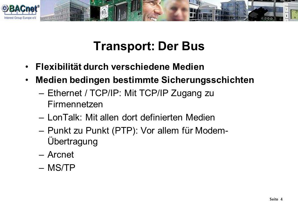Seite 4 Transport: Der Bus Flexibilität durch verschiedene Medien Medien bedingen bestimmte Sicherungsschichten –Ethernet / TCP/IP: Mit TCP/IP Zugang