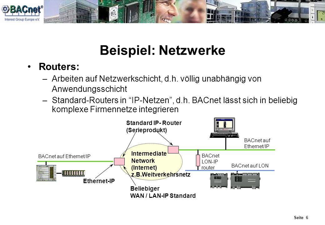 Seite 6 Beispiel: Netzwerke Routers: –Arbeiten auf Netzwerkschicht, d.h. völlig unabhängig von Anwendungsschicht –Standard-Routers in IP-Netzen, d.h.