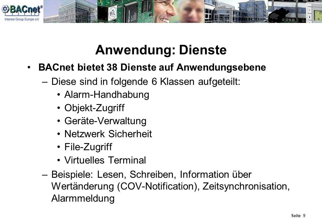Seite 9 Anwendung: Dienste BACnet bietet 38 Dienste auf Anwendungsebene –Diese sind in folgende 6 Klassen aufgeteilt: Alarm-Handhabung Objekt-Zugriff