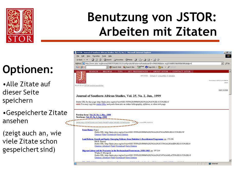 Optionen: Alle Zitate auf dieser Seite speichern Gespeicherte Zitate ansehen (zeigt auch an, wie viele Zitate schon gespeichert sind) Benutzung von JS