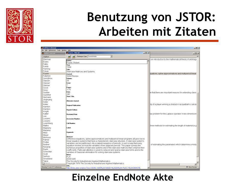 Benutzung von JSTOR: Arbeiten mit Zitaten Einzelne EndNote Akte