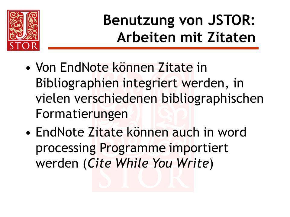 Von EndNote können Zitate in Bibliographien integriert werden, in vielen verschiedenen bibliographischen Formatierungen EndNote Zitate können auch in