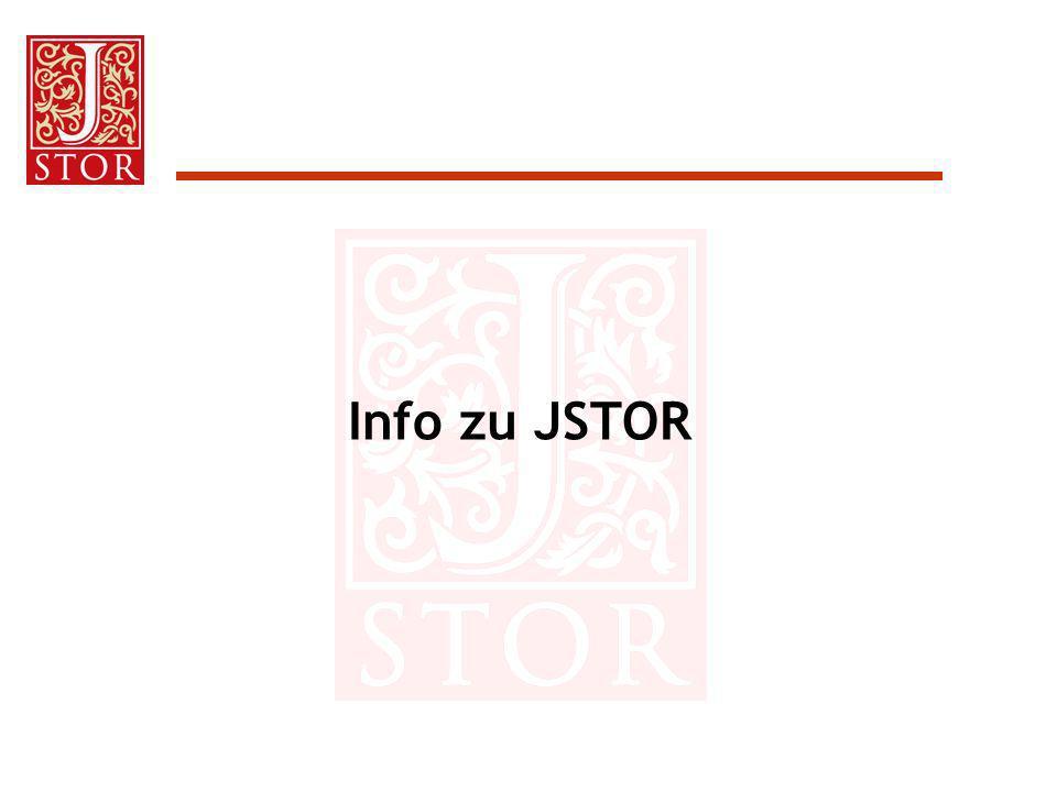 Benutzung von JSTOR: Einstellungen Vier Möglichkeiten: Drucken –Default: Adobe PDF High Quality Herunterladen –Default: Adobe PDF High Quality Display von Zeichen –Default: Transliterated Version Onscreen Page Size –Default: Large