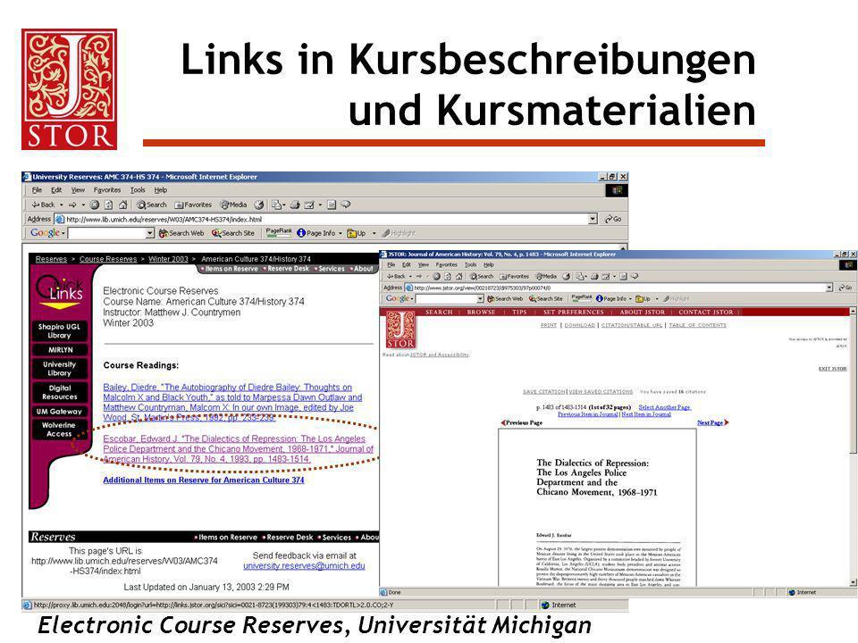 Electronic Course Reserves, Universität Michigan Links in Kursbeschreibungen und Kursmaterialien
