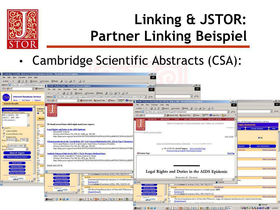 Linking & JSTOR: Partner Linking Beispiel Cambridge Scientific Abstracts (CSA):