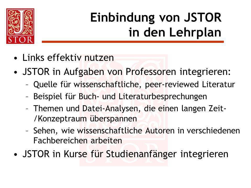 Einbindung von JSTOR in den Lehrplan Links effektiv nutzen JSTOR in Aufgaben von Professoren integrieren: –Quelle für wissenschaftliche, peer-reviewed
