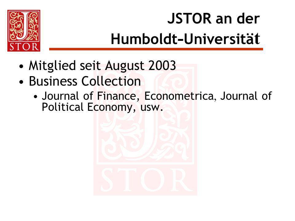 Hilfestellungen für Bibliothekare Zahlreiche nützliche Informationen unter: http://www.jstor.org/resources