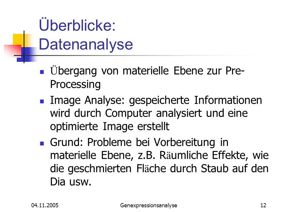 04.11.2005Genexpressionsanalyse12 Überblicke: Datenanalyse Ü bergang von materielle Ebene zur Pre- Processing Image Analyse: gespeicherte Informatione