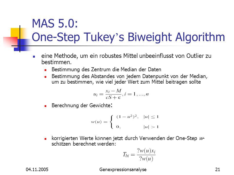 04.11.2005Genexpressionsanalyse21 MAS 5.0: One-Step Tukey s Biweight Algorithm eine Methode, um ein robustes Mittel unbeeinflusst von Outlier zu besti