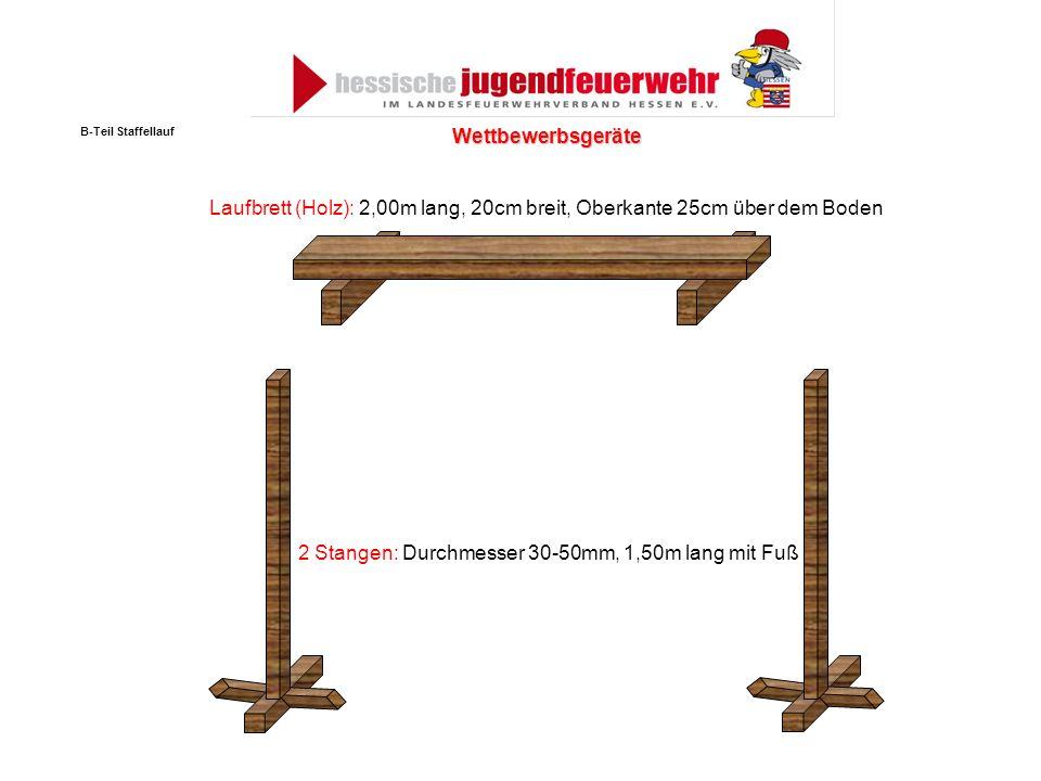 Laufbrett (Holz): 2,00m lang, 20cm breit, Oberkante 25cm über dem Boden 2 Stangen: Durchmesser 30-50mm, 1,50m lang mit Fuß Wettbewerbsgeräte B-Teil St