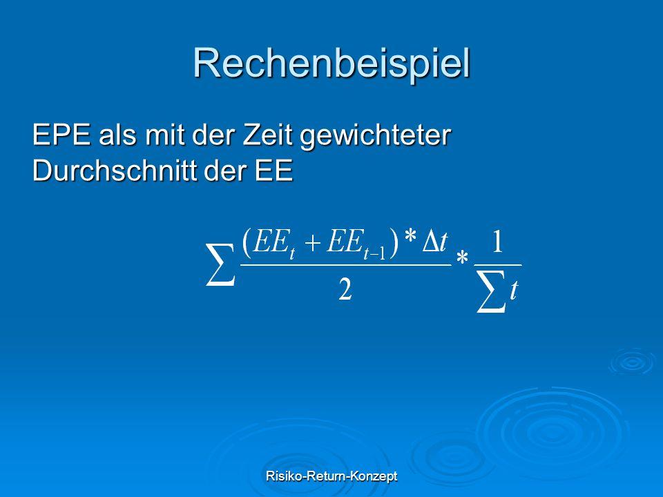 Risiko-Return-Konzept Rechenbeispiel EPE als mit der Zeit gewichteter Durchschnitt der EE