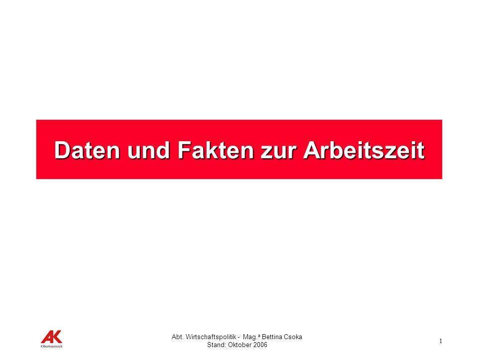 1 Abt. Wirtschaftspolitik - Mag. a Bettina Csoka Stand: Oktober 2006 Daten und Fakten zur Arbeitszeit