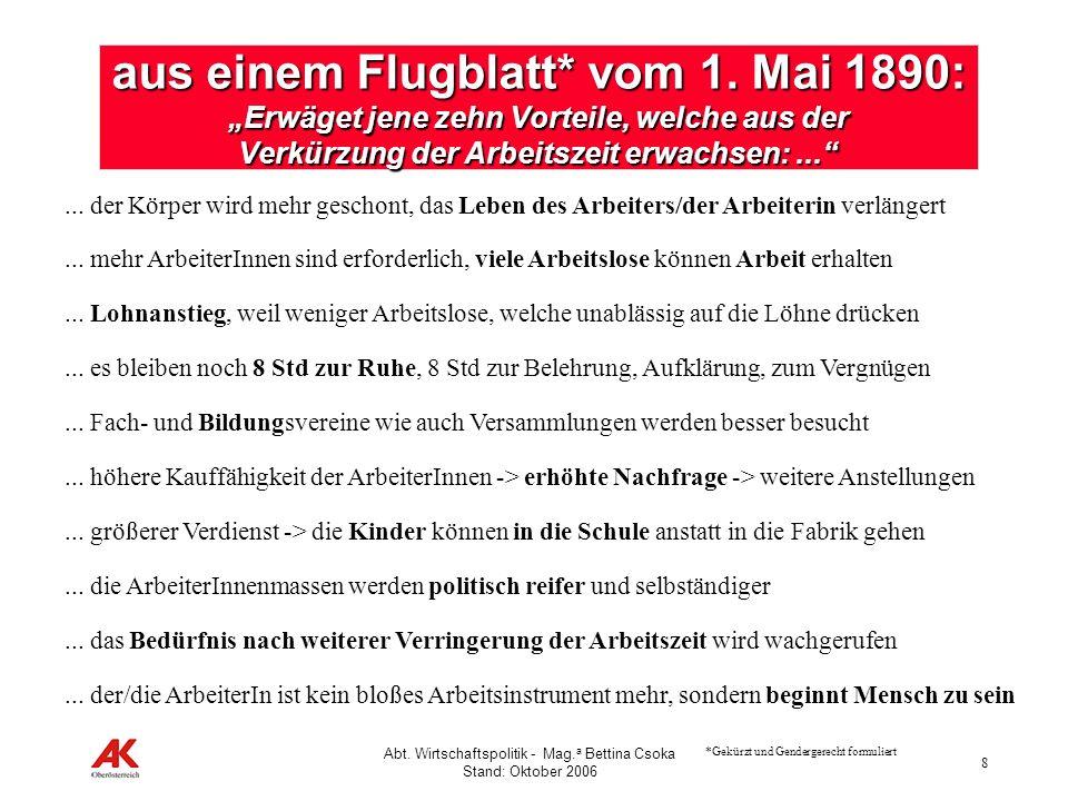 8 Abt. Wirtschaftspolitik - Mag. a Bettina Csoka Stand: Oktober 2006 aus einem Flugblatt* vom 1. Mai 1890: Erwäget jene zehn Vorteile, welche aus der