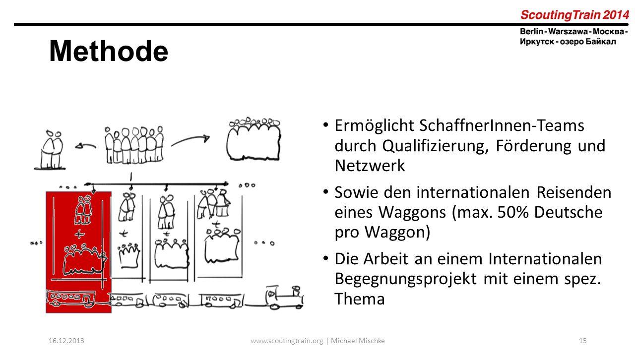 16.12.2013www.scoutingtrain.org | Michael Mischke15 Methode Ermöglicht SchaffnerInnen-Teams durch Qualifizierung, Förderung und Netzwerk Sowie den int