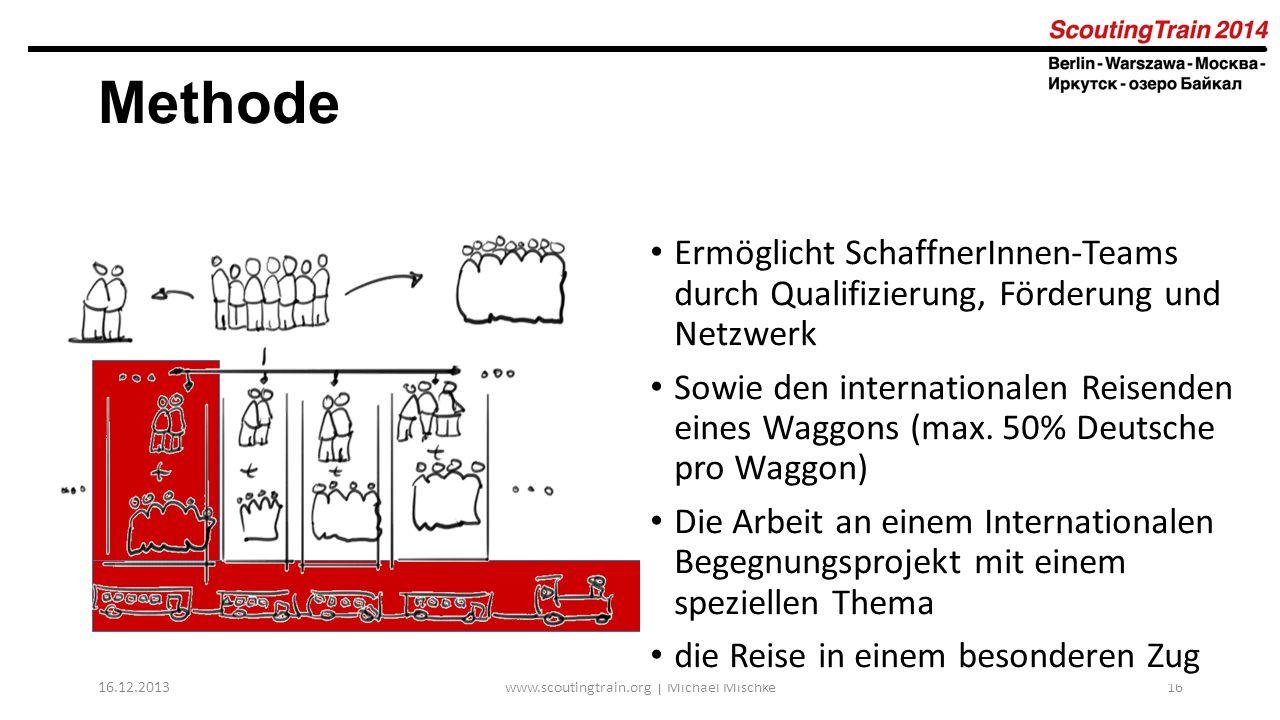 16.12.2013www.scoutingtrain.org | Michael Mischke16 Methode Ermöglicht SchaffnerInnen-Teams durch Qualifizierung, Förderung und Netzwerk Sowie den int