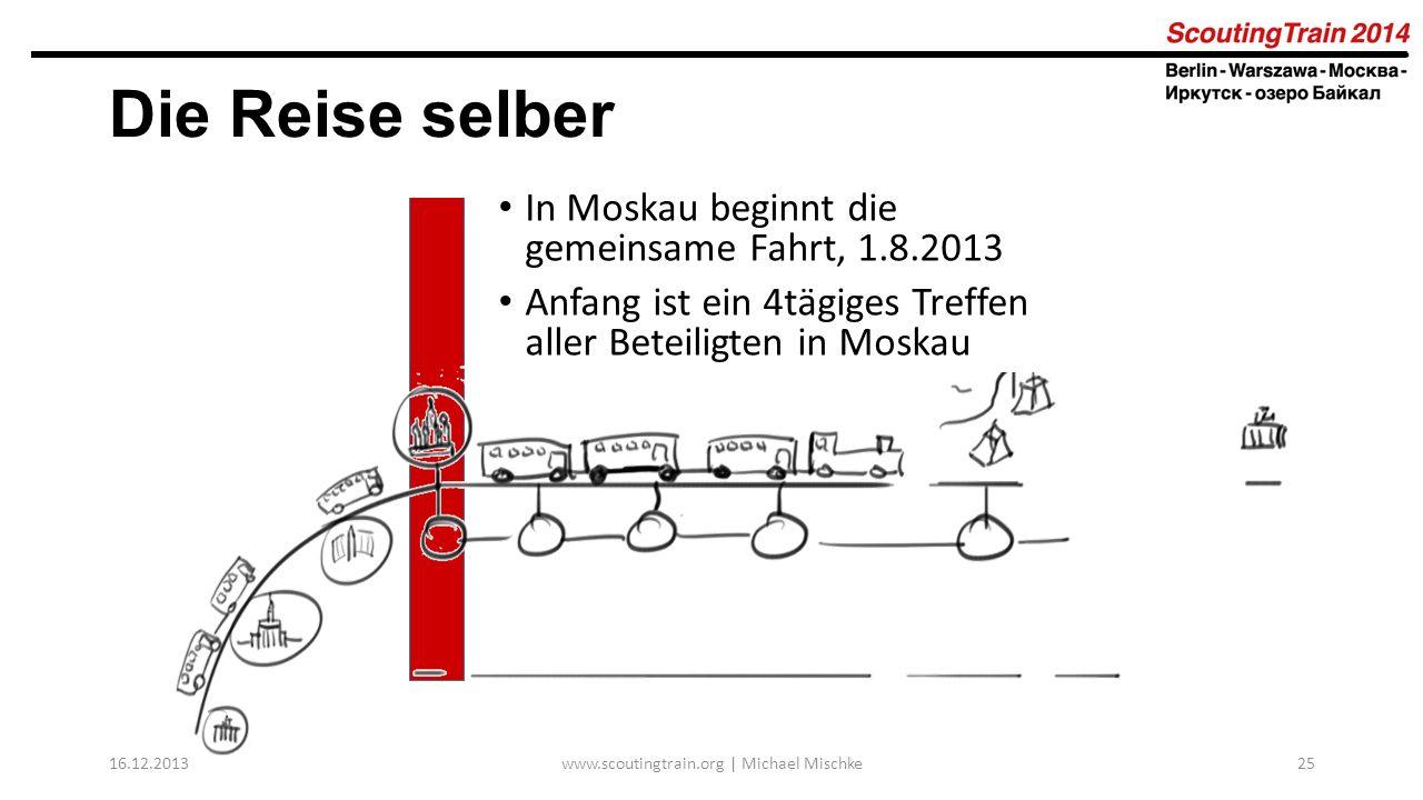 16.12.2013www.scoutingtrain.org | Michael Mischke25 Die Reise selber In Moskau beginnt die gemeinsame Fahrt, 1.8.2013 Anfang ist ein 4tägiges Treffen
