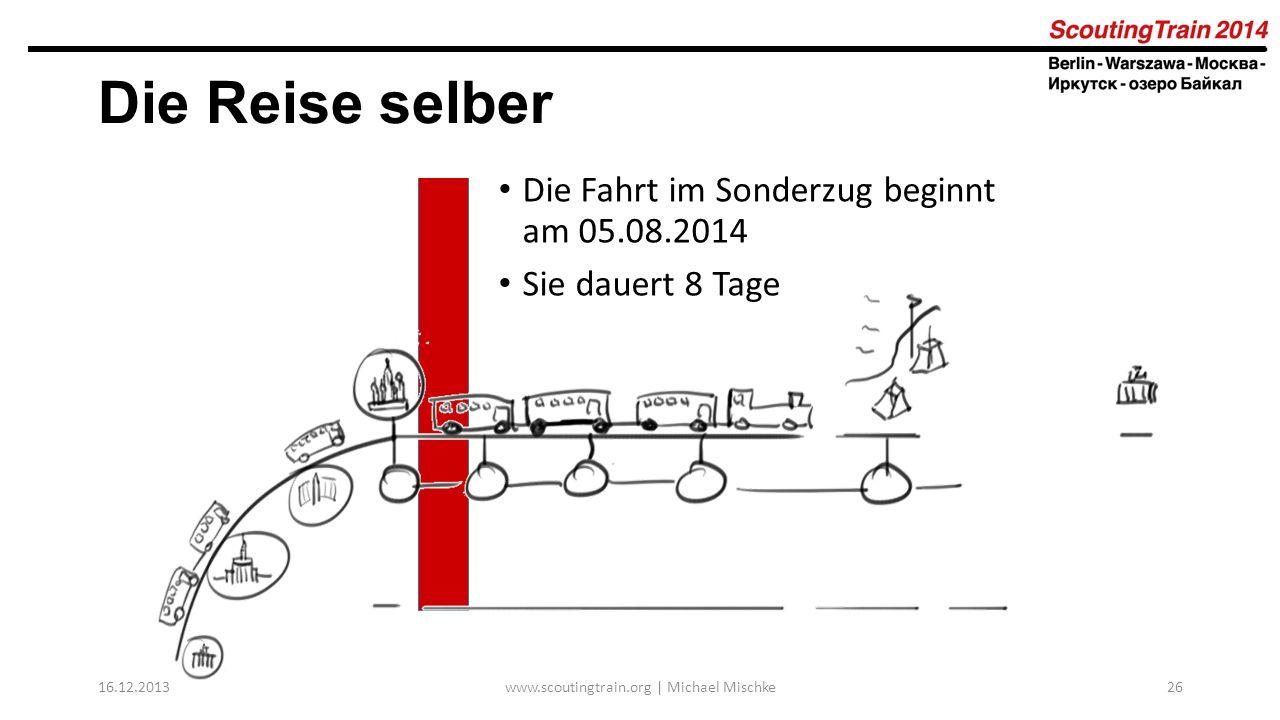16.12.2013www.scoutingtrain.org | Michael Mischke26 Die Reise selber Die Fahrt im Sonderzug beginnt am 05.08.2014 Sie dauert 8 Tage