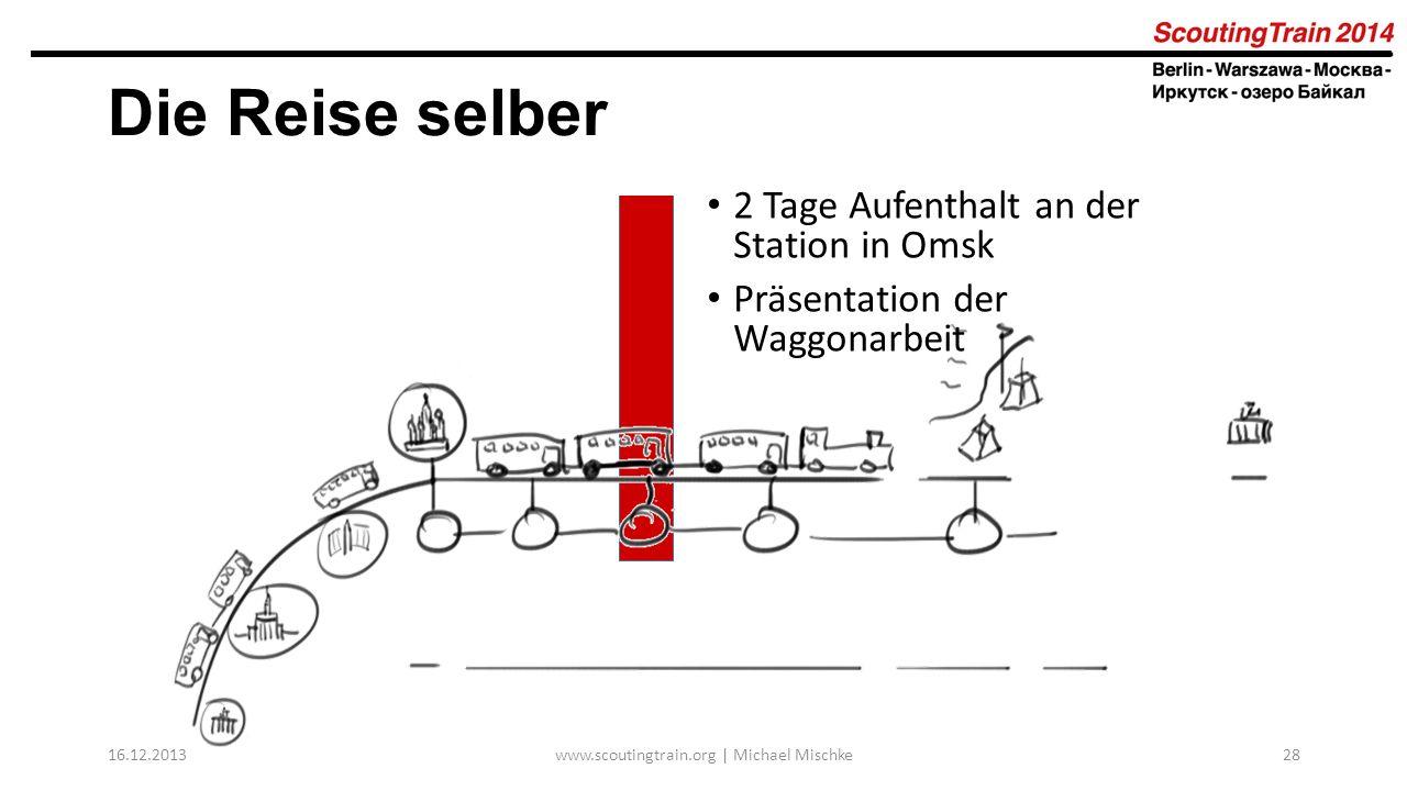 16.12.2013www.scoutingtrain.org | Michael Mischke28 Die Reise selber 2 Tage Aufenthalt an der Station in Omsk Präsentation der Waggonarbeit