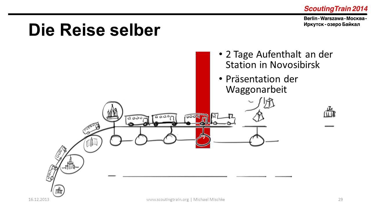 16.12.2013www.scoutingtrain.org | Michael Mischke29 Die Reise selber 2 Tage Aufenthalt an der Station in Novosibirsk Präsentation der Waggonarbeit