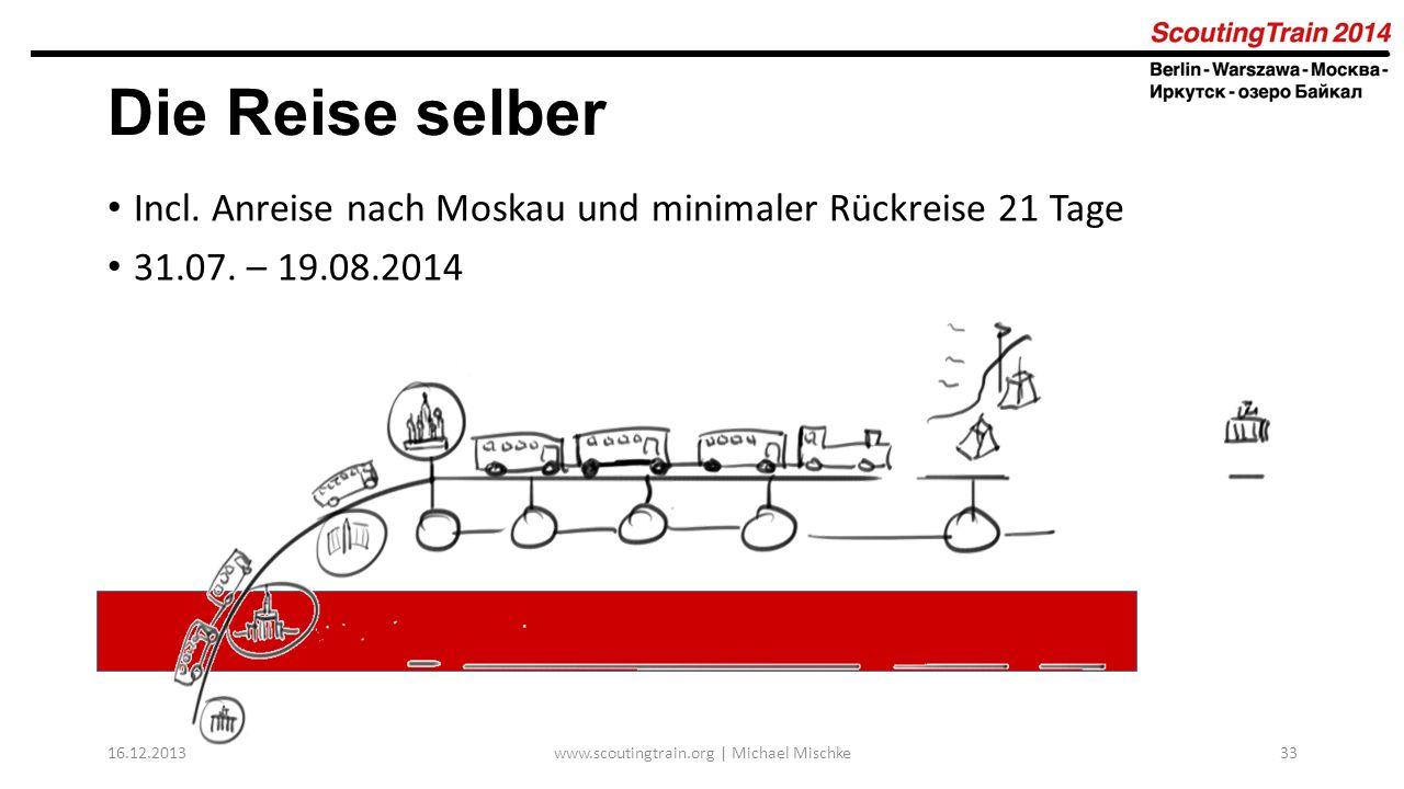 16.12.2013www.scoutingtrain.org | Michael Mischke33 Die Reise selber Incl. Anreise nach Moskau und minimaler Rückreise 21 Tage 31.07. – 19.08.2014