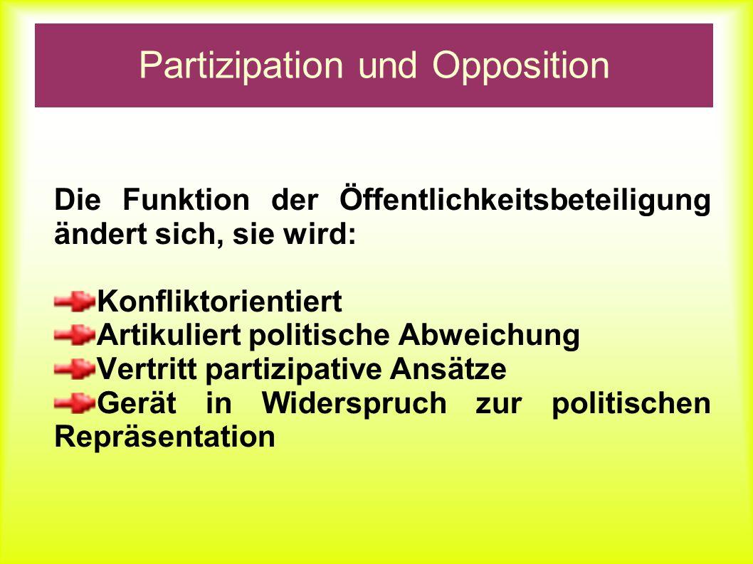 Partizipation und Opposition Die Funktion der Öffentlichkeitsbeteiligung ändert sich, sie wird: Konfliktorientiert Artikuliert politische Abweichung V