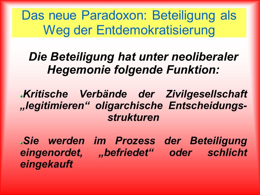 Das neue Paradoxon: Beteiligung als Weg der Entdemokratisierung Die Beteiligung hat unter neoliberaler Hegemonie folgende Funktion: Kritische Verbände