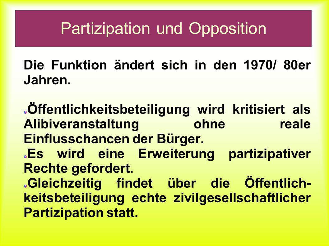Partizipation und Opposition Die Funktion der Öffentlichkeitsbeteiligung ändert sich, sie wird: Konfliktorientiert Artikuliert politische Abweichung Vertritt partizipative Ansätze Gerät in Widerspruch zur politischen Repräsentation
