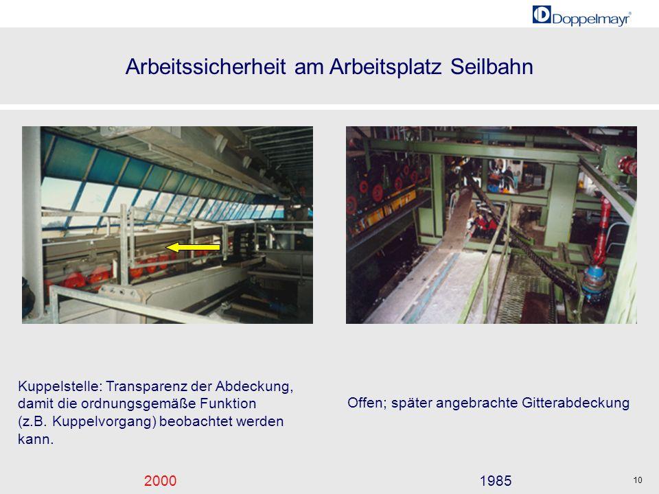 Arbeitssicherheit am Arbeitsplatz Seilbahn 20001985 10 Kuppelstelle: Transparenz der Abdeckung, damit die ordnungsgemäße Funktion (z.B. Kuppelvorgang)