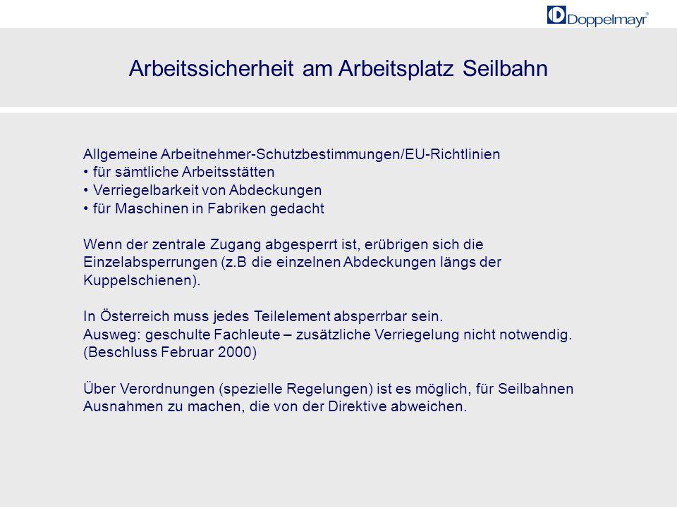 Arbeitssicherheit am Arbeitsplatz Seilbahn 20001985 21 Allgemeine Arbeitnehmer-Schutzbestimmungen/EU-Richtlinien für sämtliche Arbeitsstätten Verriege
