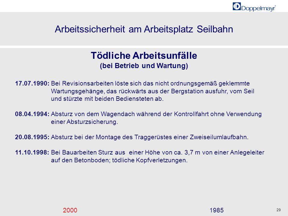 Arbeitssicherheit am Arbeitsplatz Seilbahn 20001985 29 Tödliche Arbeitsunfälle (bei Betrieb und Wartung) 17.07.1990:Bei Revisionsarbeiten löste sich d