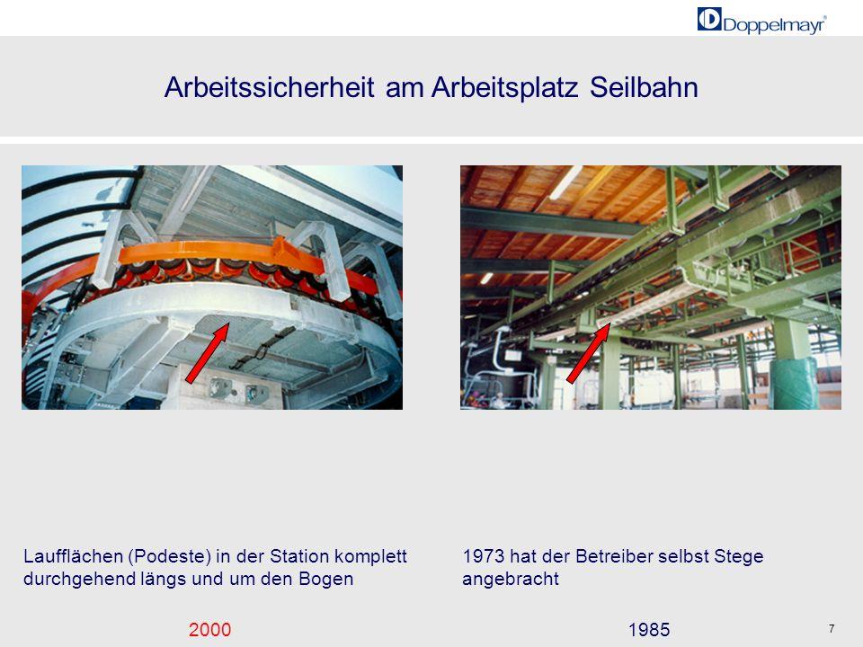 Arbeitssicherheit am Arbeitsplatz Seilbahn 20001985 7 Laufflächen (Podeste) in der Station komplett durchgehend längs und um den Bogen 1973 hat der Be