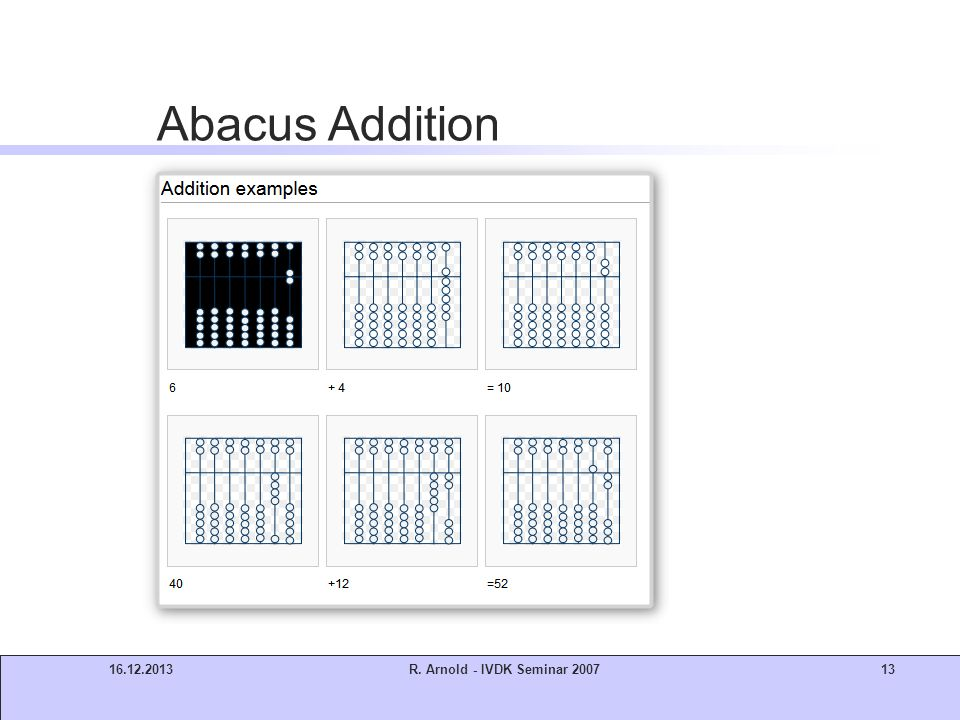 16.12.2013R. Arnold - IVDK Seminar 200713 Abacus Addition