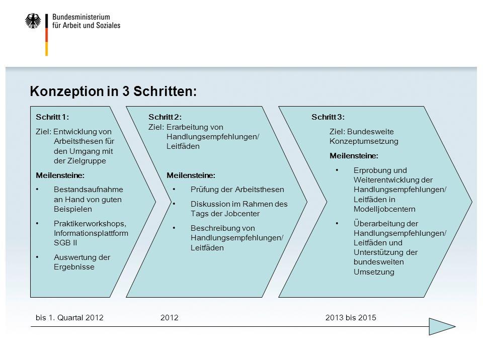 Konzeption in 3 Schritten: bis 1. Quartal 201220122013 bis 2015 Schritt 1: Ziel: Entwicklung von Arbeitsthesen für den Umgang mit der Zielgruppe Meile