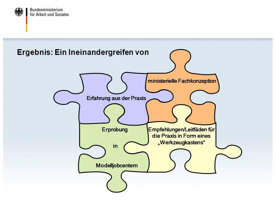 Ergebnis: Ein Ineinandergreifen von Erfahrung aus der Praxis ministerielle Fachkonzeption Erprobung in Modelljobcentern Empfehlungen/Leitfäden für die