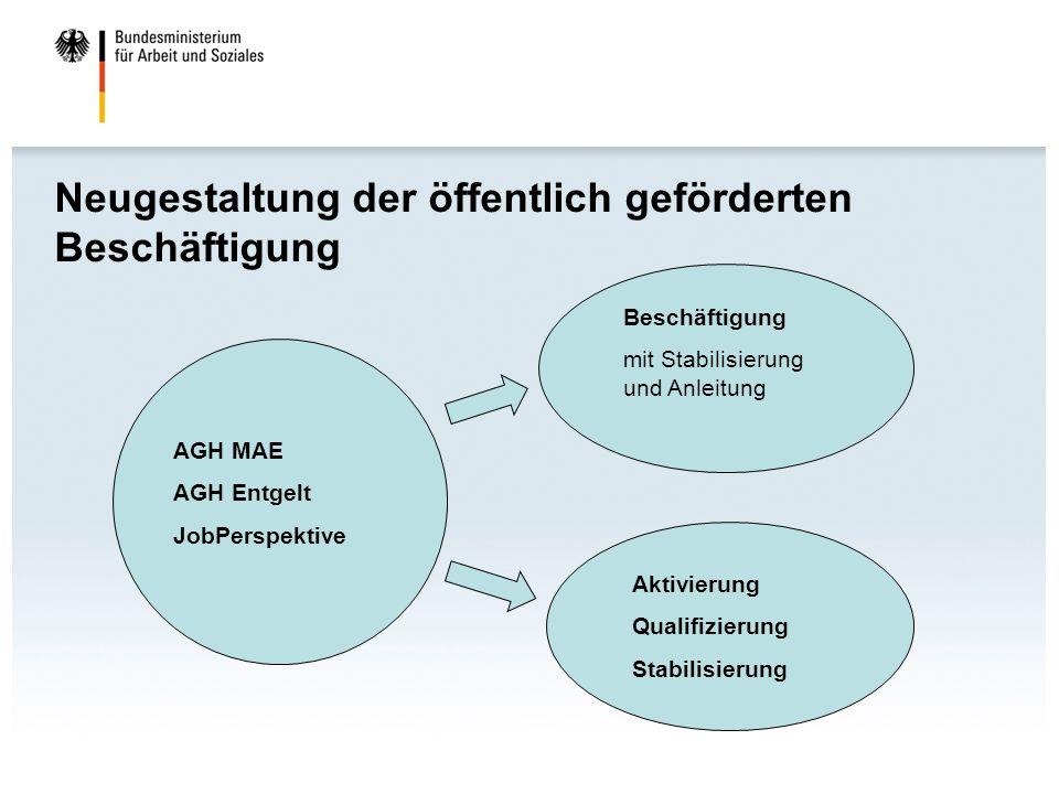 Zukunft: Instrumentenbaukasten Beschäftigung Aktivierung Anleitung/ Stabilisierung Qualifizierung § 45 SGB III-neu § 16d SGB II- neu § 16e SGB II- neu § 16d SGB II § 45 SGB III- neu