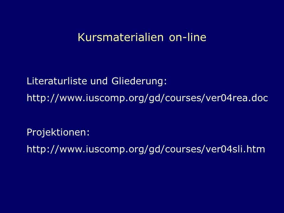 Kursmaterialien on-line Literaturliste und Gliederung: http://www.iuscomp.org/gd/courses/ver04rea.doc Projektionen: http://www.iuscomp.org/gd/courses/