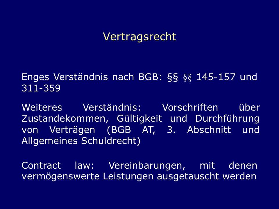 Vertragsrecht Enges Verständnis nach BGB: §§ §§ 145-157 und 311-359 Weiteres Verständnis: Vorschriften über Zustandekommen, Gültigkeit und Durchführun