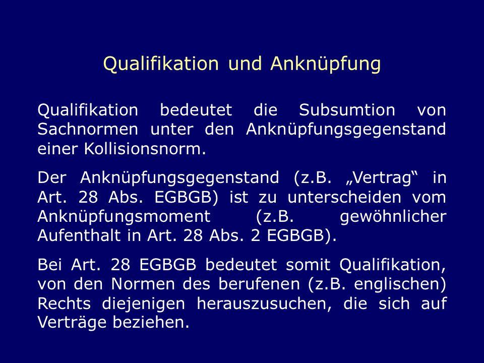 Qualifikation und Anknüpfung Qualifikation bedeutet die Subsumtion von Sachnormen unter den Anknüpfungsgegenstand einer Kollisionsnorm. Der Anknüpfung