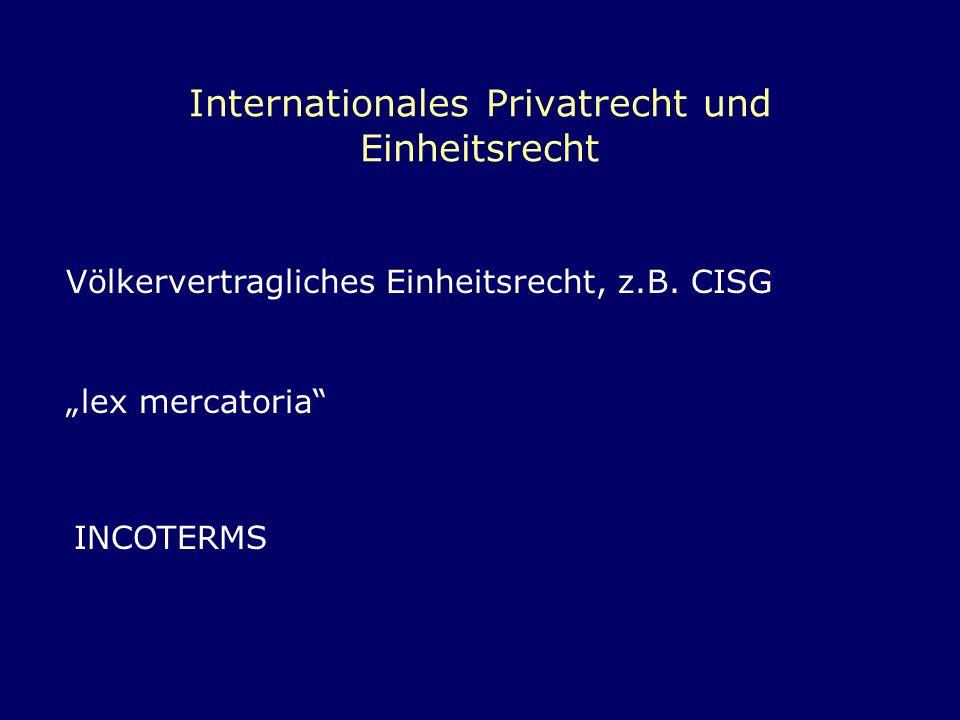 Internationales Privatrecht und Einheitsrecht Völkervertragliches Einheitsrecht, z.B. CISG lex mercatoria INCOTERMS