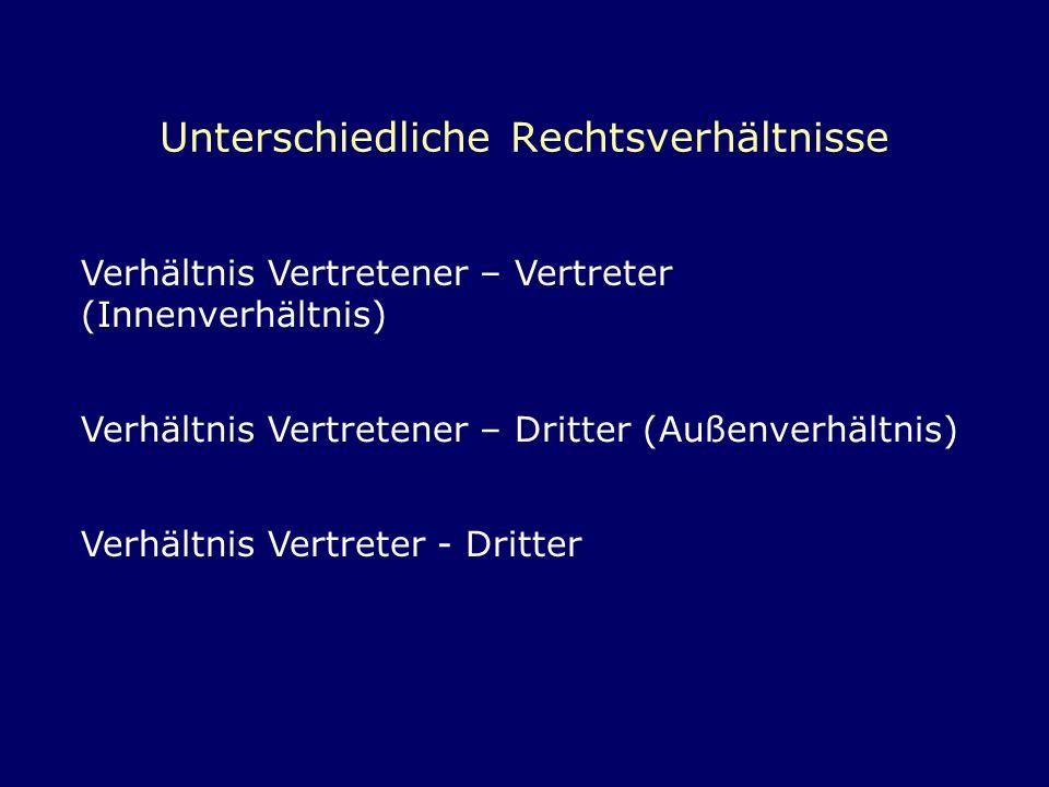 Unterschiedliche Rechtsverhältnisse Verhältnis Vertretener – Vertreter (Innenverhältnis) Verhältnis Vertretener – Dritter (Außenverhältnis) Verhältnis