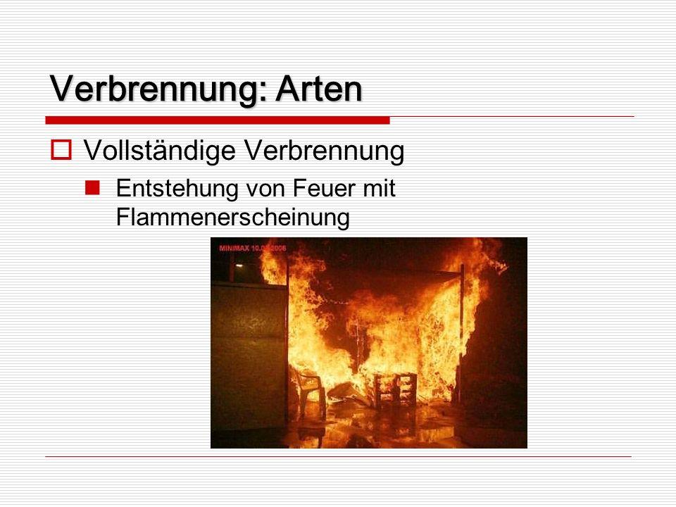 Verbrennung: Arten Vollständige Verbrennung Entstehung von Feuer mit Flammenerscheinung