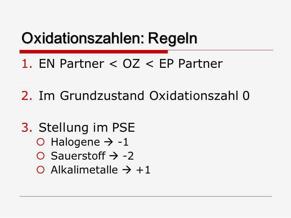 Oxidationszahlen: Regeln 1.EN Partner < OZ < EP Partner 2.Im Grundzustand Oxidationszahl 0 3.Stellung im PSE Halogene -1 Sauerstoff -2 Alkalimetalle +